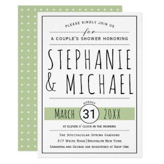 O chá do casal do casamento do verde prudente da convite 12.7 x 17.78cm