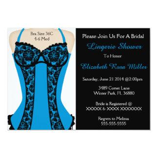 O chá preto & azul da lingerie do espartilho convite 12.7 x 17.78cm