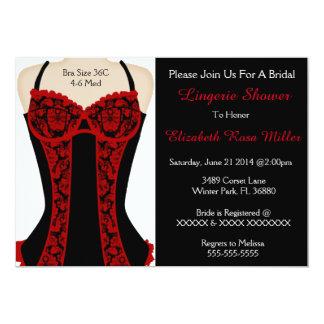 O chá preto & vermelho da lingerie do espartilho convite 12.7 x 17.78cm