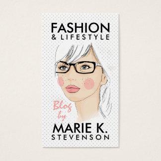 O chique na moda da ilustração da forma da menina cartão de visitas