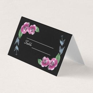 O chique pintado floresce cartões Wedding do lugar