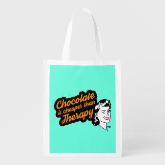 O chocolate é mais barato do que o saco reusável sacola ecológica para supermercado