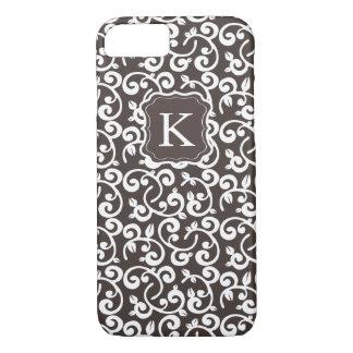 O chocolate floral do monograma feminino, muda a capa iPhone 7