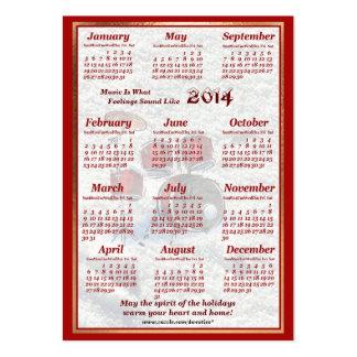 O cilindro 2014 deixou o calendário do bolso de ar cartao de visita