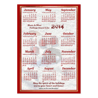O cilindro 2014 deixou o calendário do bolso de ar modelo cartoes de visitas