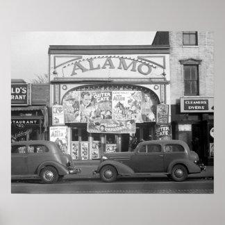 O cinema de Alamo, 1937. Foto do vintage Poster