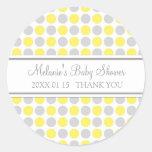 O cinza amarelo pontilha etiquetas do favor do chá adesivos em formato redondos