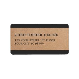 O cinza moderno listra a etiqueta do papel de etiqueta de endereço
