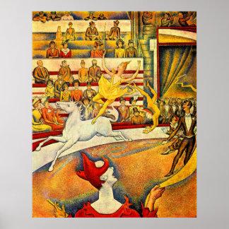 O circo por Georges Seurat, Pointillism do vintage Pôster