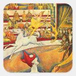 O circo por Seurat, belas artes do Pointillism do Adesivo Em Forma Quadrada