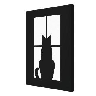 O clique do gato da janela a personalizar obtem impressão em tela