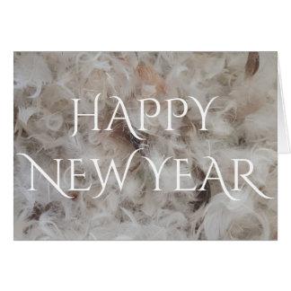 O cobertor do feliz ano novo para baixo empluma-se cartão comemorativo