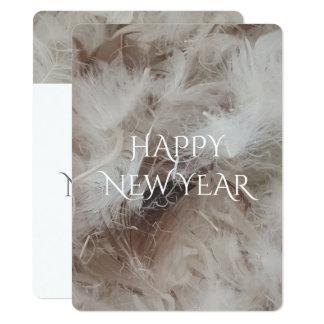 O cobertor do feliz ano novo para baixo empluma-se convite 13.97 x 19.05cm