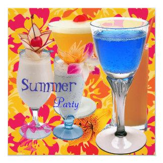 O cocktail amarelo tropical do partido do verão convite quadrado 13.35 x 13.35cm