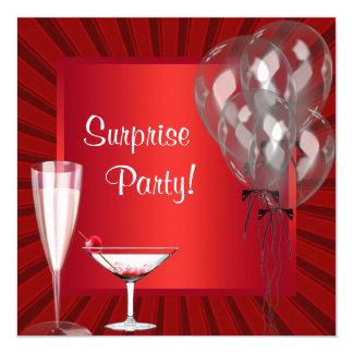 O cocktail Balloons a festa de aniversário Convite Quadrado 13.35 X 13.35cm