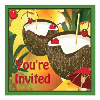 O coco bebe o convite de festas de Luau