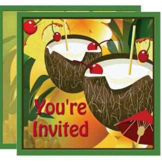 O coco de Luau bebe o convite de festas