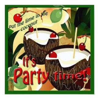 O coco de Luau bebe o limão engraçado no partido Convite Quadrado 13.35 X 13.35cm