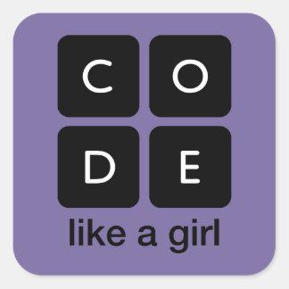 O código gosta de uma menina adesivo quadrado