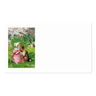 O coelhinho da Páscoa da menina colorido Eggs o Cartão De Visita