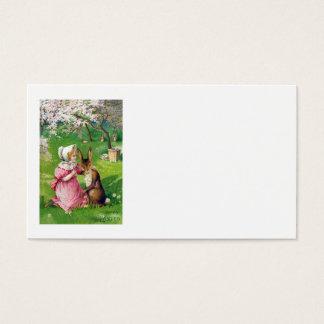 O coelhinho da Páscoa da menina colorido Eggs o Cartão De Visitas