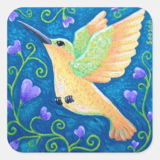 O colibri dourado adesivo quadrado