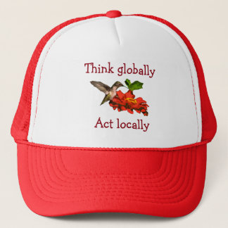 O colibri pensa global o ato localmente Red Hat Boné