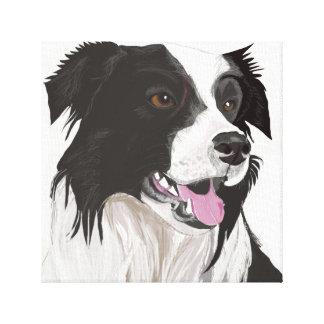 O Collie preto e branco com Brown Eyes o retrato Impressão Em Tela