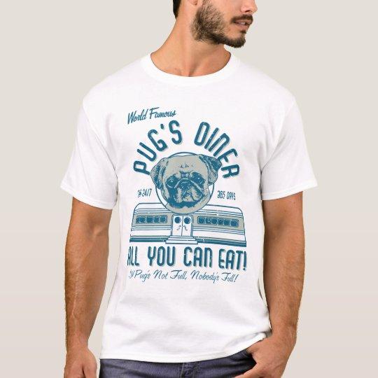 O comensal retro do Pug do estilo do 50 do vintage Camiseta