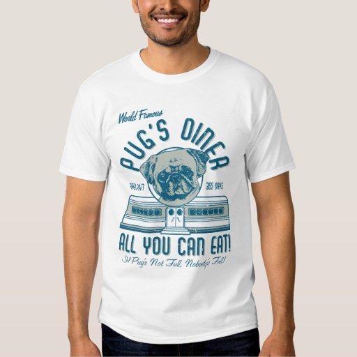O comensal retro do Pug do estilo do 50 do vintage T-shirt