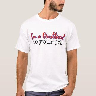 O componente faz sua camisa do trabalho