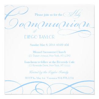 O comunhão santamente azul convida convite personalizados