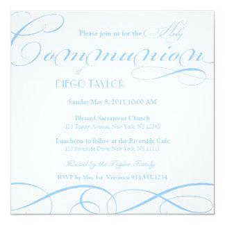 O comunhão santamente azul convida convite quadrado 13.35 x 13.35cm