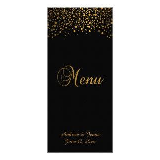 O confete à moda do ouro pontilha o preto de | 10.16 x 22.86cm panfleto