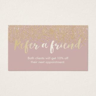 O confete chique do ouro do cartão   da referência