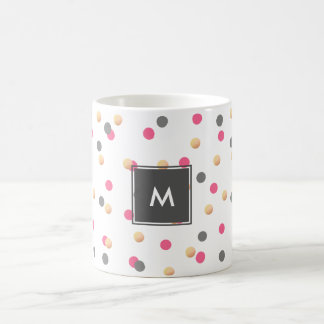 o confete cor-de-rosa cinzento do ouro elegante do caneca de café