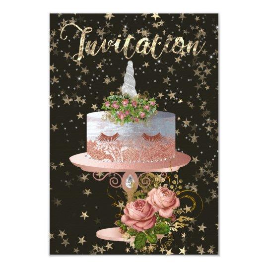 O confete cor-de-rosa do ouro do unicórnio do bolo convite 8.89 x 12.7cm