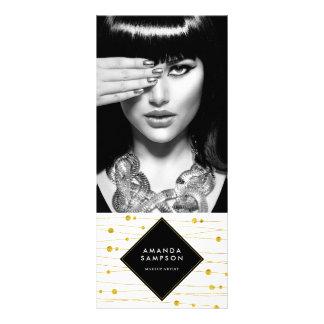 O confete do ouro encalha o cartão da cremalheira 10.16 x 22.86cm panfleto
