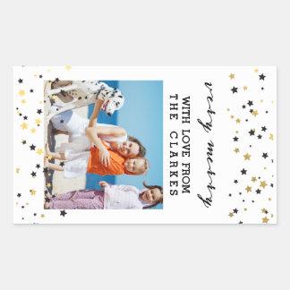 O confete do ouro Stars a foto do feriado de | Adesivo Retangular