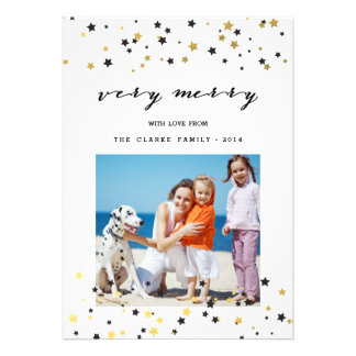 O confete do ouro Stars o cartão com fotos do Convite