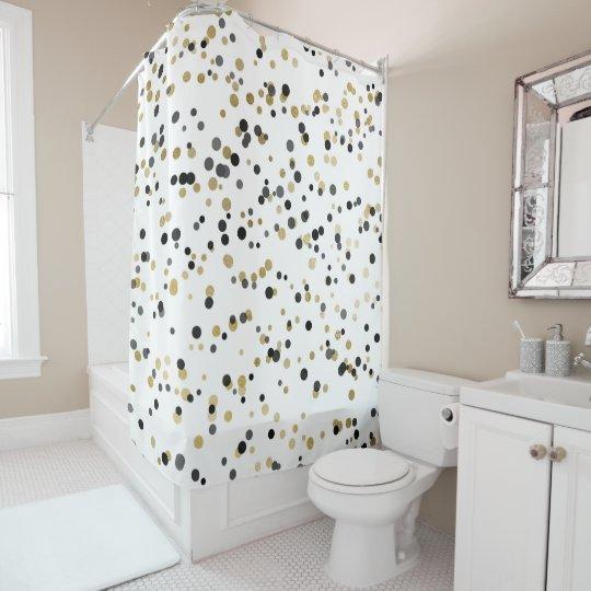 O confete preto do ouro branco pontilha o encanto cortina para chuveiro