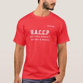 O conselho de corte vermelho da camisa de HACCP T