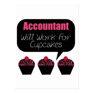 O contador, trabalhará para cupcakes cartão postal