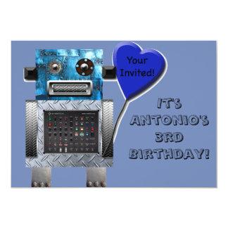 O convite bonito do cartão de aniversário do robô