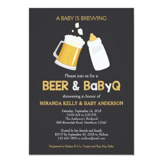 O convite da cerveja & do chá de fraldas de BabyQ,