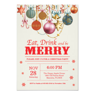 O convite da festa natalícia do Natal come a feliz