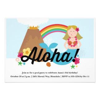 O convite de aniversário das crianças havaianas de