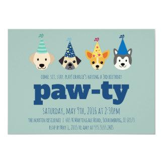 O convite de aniversário do filhote de cachorro,