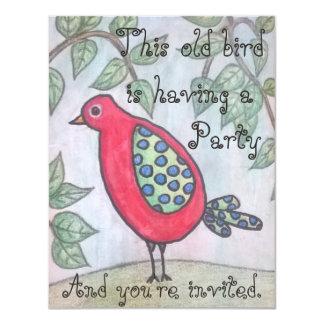 O convite de festas do pássaro velho