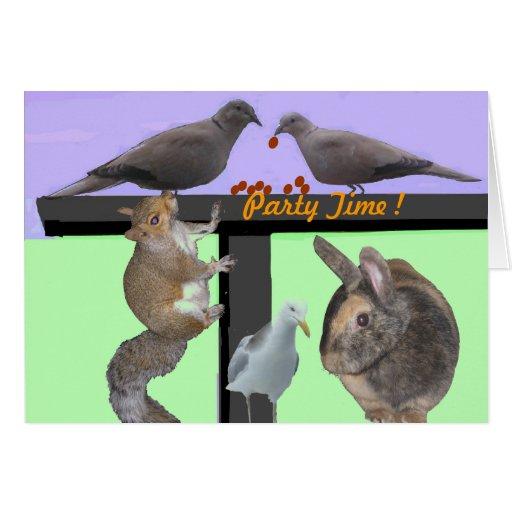 O convite de festas dos animais dos pássaros carda cartoes